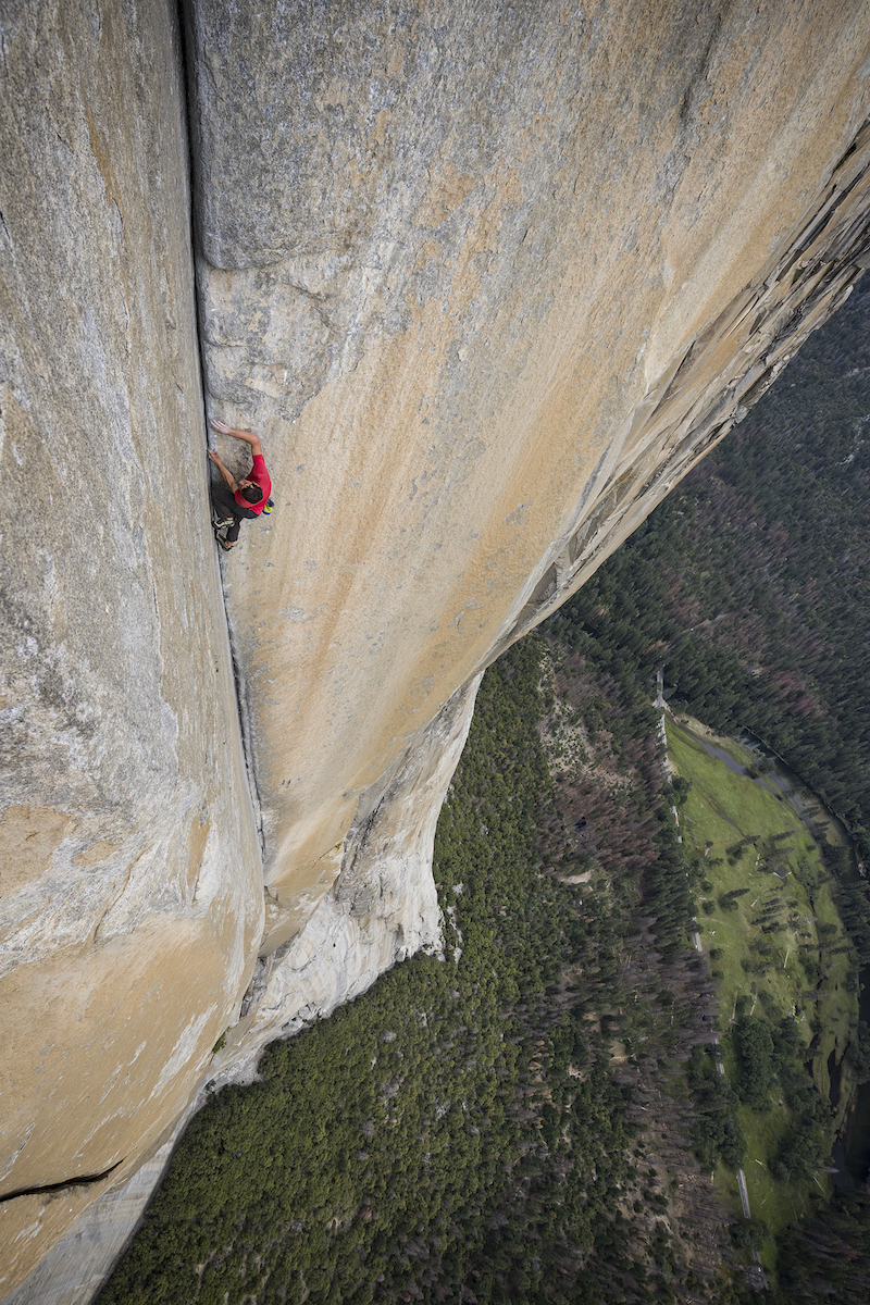 Alex Honnold climbs the enduro corner of El Capitan's Freerider in Yosemite National Park